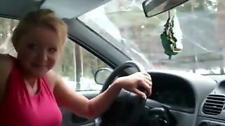 Blonde Drives Me Around And Swallows My Cum