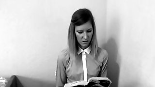 Girl Reading A Book With Vibrator Inserted In Her Pussy Moans Until Cums