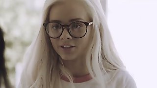 Nerdy Blonde In Glasses Elsa Jean Is Fucked By Tattooed Sassy Chick Joanna Angel