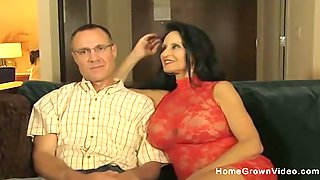 Hot Milf Sucks And Fucks A Nervous  Guy With A Big Cock In Front Of Her Husband!