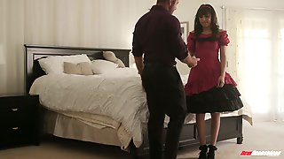 Cute girl in doll dress Judy Jolie gets her pussy and mouth fucked