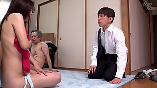 Asian Stepmom Get Fucked By Her Son And Her Husband