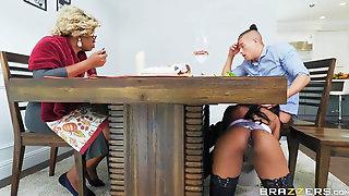 Delicious Ebony Babe Sodomized On The Kitchen Table