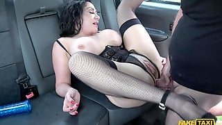 Wavy Haired Woman In Stockings Gets Both Of Her Holes Fucked Hard