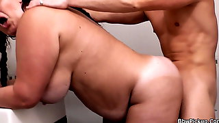 Chubby Woman Picked Up And Fucked From Behind