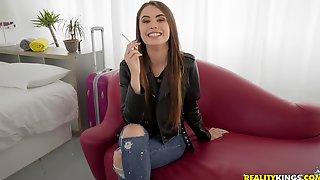 Long Haired Brunette Teen Elle Rose Ass Fucked Hardcore