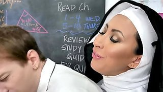 BadMILFS - Horny Nun Squirts All Over A Horny Teen Pussy
