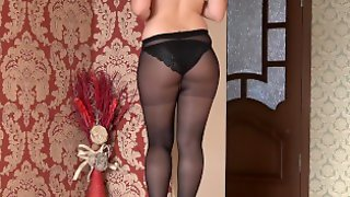 Slender Girl With A Beautiful Ass, In Nylon Pantyhose And Panties