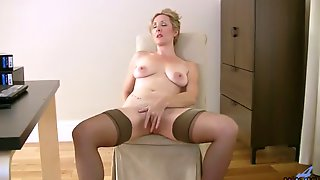 All Alone Buxom Whore In Nylon Stockings Camilla Pets Her Wet Slit