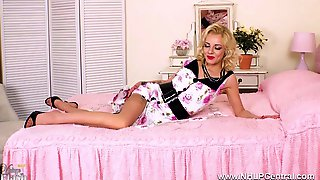Lovely Petite Blonde April Paisley Finger Fucks Tight Pussy In Retro Vintage Girdle And Nylons