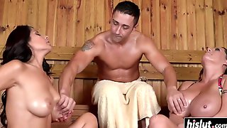 Lucky Guy And Two Busty Sluts In Sauna