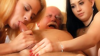 Fat Grandpa Banged By Two Teens In Threesome