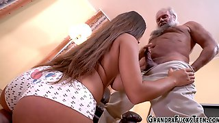 Busty Teen Bangs Grandpa