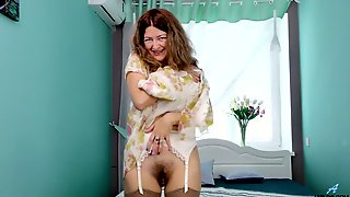 Messy Haired Lusty Alone Whore Helena Volga Masturbates Her Wet Pussy