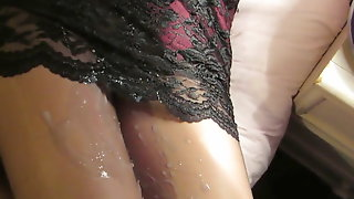 Wearing Lingerie And Cumming Over Nylon Clad Legs