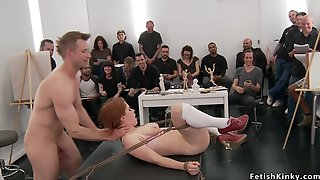 Large-Bosomed Redhead Grop Hardcore Made Love At Art Class