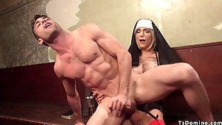 Tranny Nun Punishing Ass Fuck Male Prisoner