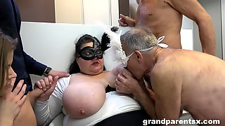 BBW Amateur Mature Masked Granny Shares Dick With A Teen Babe