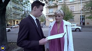 Busty Blonde Mature Margaux M. Picks Up A Teen Guy On The Street