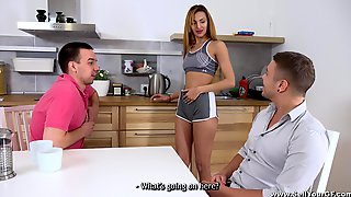 Sporty MILF In Shorts Lina Montana In A Hardcore MMF Threesome
