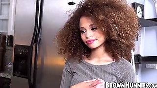 Tiny Ebony Stunner Cecilia Lion Bouncing On Big White Dick