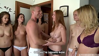 Lucky Guy And Group Of Very Hot Girls