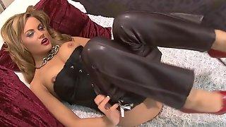 Leather Pants Dildo Rub