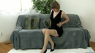 Mature Brunette In Stockings Jamie Foster Shows Her Twat In All Its Glory