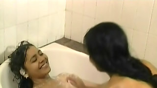 Cute Desi Lesbian Indian Teens Kissing And Playing With Her Soapy Boos At The Bathroom