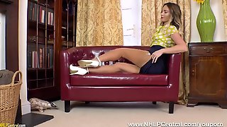 Gorgeous Blonde Natalia Forrest Fingering Tight Pussy In Vintage Girdle Nylons Heels