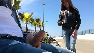 Babe Was Surprised To See Guy Jerking Off Dick In The Park :)