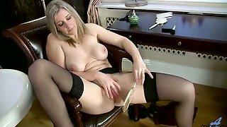 Bosomy Lonely Blond Head Tonya Spreads Legs For Teasing Her Own Twat