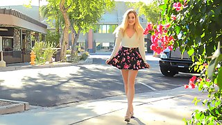 Blonde Amateur MILF Winter Takes Off Her Summer Dress In Public
