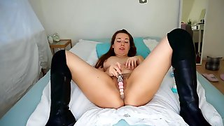 Fucking My Pussy Creamy With A Glass Dildo, Boot Fetish - Leah May