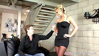 Stunning Blonde MILF Receives A Creampie After Hard Sex