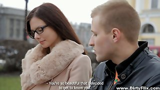 Nerdy Brunette In Glasses Margarita C Peachy Is Fucked On The First Date