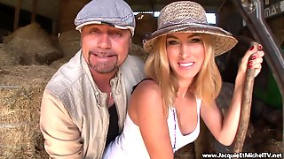 Awesome Blond Hair Lady Girl Banged In The Barn - 1080p