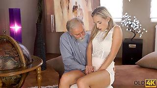 OLD4K. Kind Grey-haired Teacher Makes Sweet Love To Tender