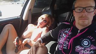 FinnishBBCSlut Masturbates In Car At Publick Parking Plase