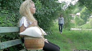Beautiful Blond Teen Angel Diamonds Is Making Love In The Garden