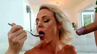 Mommy Eats The Sperm After Being Brutally Fucked