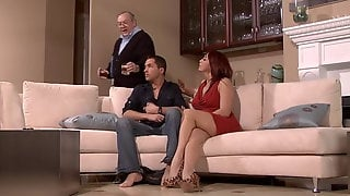 Milf With Red Hair And Big Tits Got Fucked On The Sofa In Fr