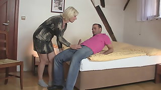 Blonde Mother-in-law Sucks And Rides