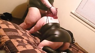 Wife Sucks My Cock While We Dress In Leather