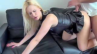 Blondie In Spandex Dress Gets Fucked