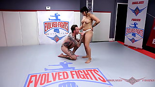 Nude Wrestling Fight Winner Mia Little Puts On Her Strapon