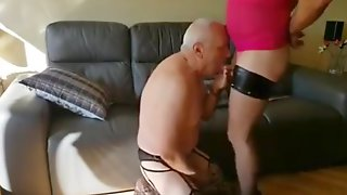 Old Crossdressers Having Fun With Each Other