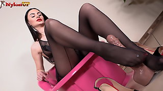 Goddess Ambras Footjob In Black Pantyhose