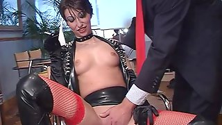 Slutty Teen In A Leather Skirt Roxanne Pounded Doggy Style