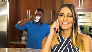 MILF Beauty Ella Reese Sprayed With Cum On Face From A Black Guy